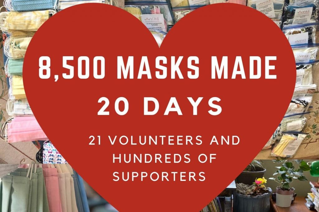 COVID19 emergency program - 8500 facemasks made in 20 days with 21 volunteers and hundreds of supporters.