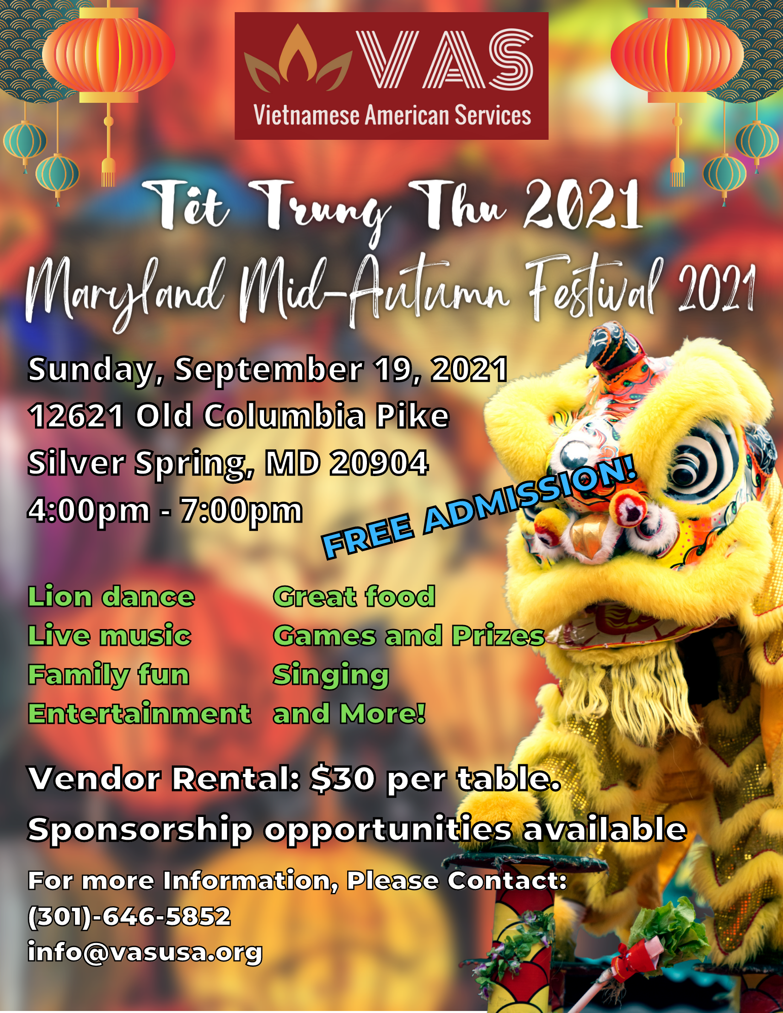 VAS Upcoming event: The Mid Autumn festival returns for 2021. Day: September 19, 2021. Time: 4pm - 7pm. Address: 12621 Old Columbia Pike, Silver Spring, MD, 20904