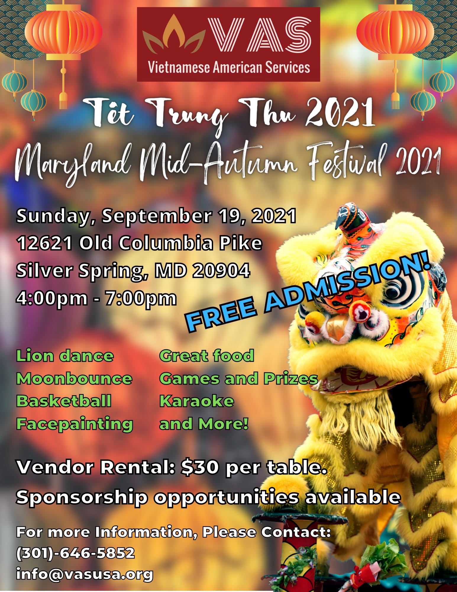 Mid-Autumn Festival at VAS. September 19, 2021 4pm - 7pm