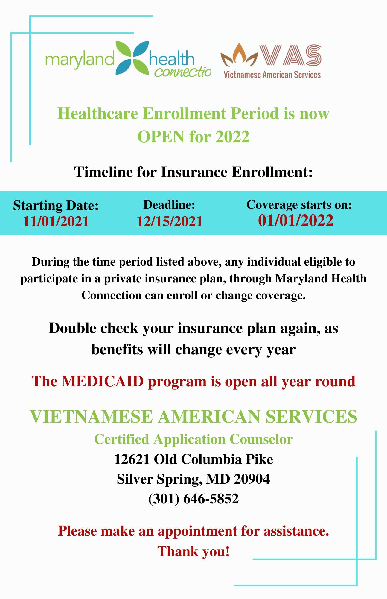 ĐÃ ĐẾN LÚC THAM GIA/GIA HẠN BẢO HIỂM Y TẾ CHO NĂM 2022 // healthcare enrollment help silver spring/dmv area at vietnamese american services
